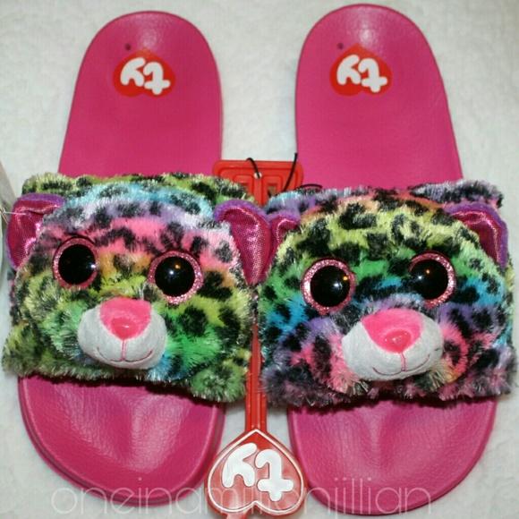 b212d7dfd74 Girls TY Beanie Boo Furry Sandals - Leopard Dotty